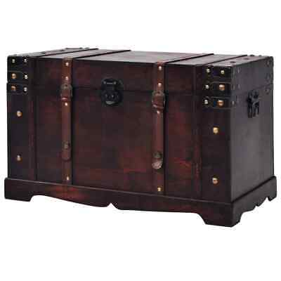 New Vintage Treasure Chest Wood Storage Cabinet Trunk Box Case Home Coffee Table