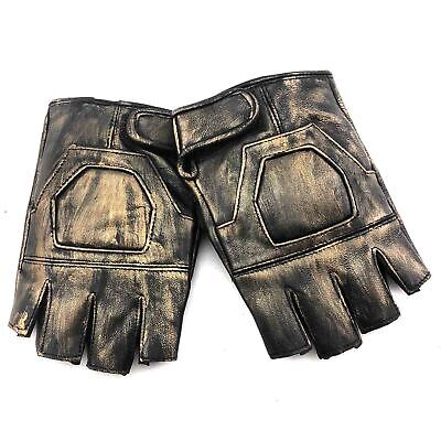 Vintage Gold Real Leather Steampunk Fingerless Gloves Cosplay Custume