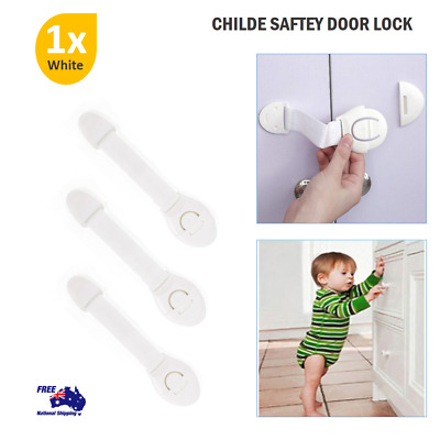 Child Saftey Door Lock Adhedsive Drawer Toilet Kids Security Cabiner White