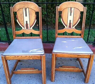 Two Art Deco Mission/Saquaro Western Style Oak Chairs Stamped West Point Brown