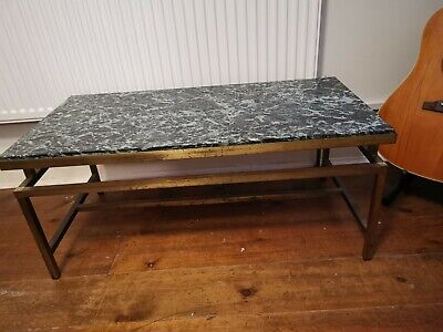 Antique heavy beautiful Art Deco Brass And Real green Marble Coffee Table