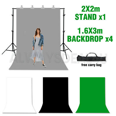 Photography Background Stand Kit + Studio Black White Screen 2PCS Backdrops Set