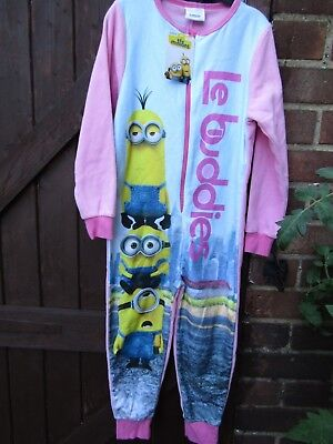 DESPICABLE girl  MINIONS all in one JUMPSUIT FLEECE PYJAMAS age 4-5 one piece