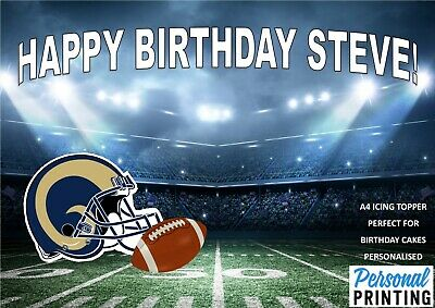 Los Angeles Rams American Football A4 Icing Cake Topper Personalised Birthday
