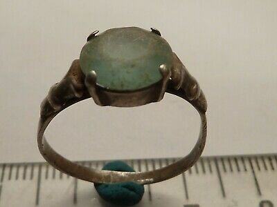 3965	Ancient Byzantine silver ring with light green glass 18 mm