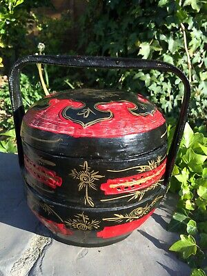 Asian Lunch Tiffin 3 Tiered Wicker Painted Box Wedding Chinese food