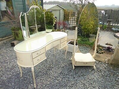 Vintage French Louis Kidney Dressing Table &  Mirror & Glass Top & Cheval Mirror