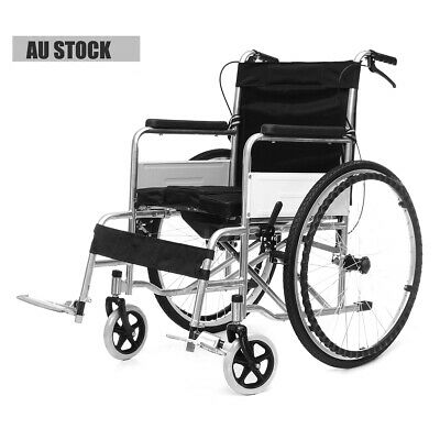 Manual Wheelchair Folding Mobile Transport Commode Seat Toilet Chair