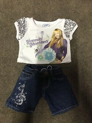Build A Bear Denim Blue Jeans & Sparkly T-shirt Top Hannah Montana Guitar