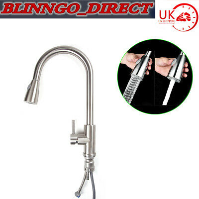 Modern Stainless Steel Kitchen Sink Pull Out Spray Mixer Tap Hot & Cold Faucet