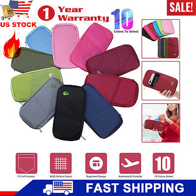 NEW Travel Passport Credit ID Card Cash Wallet Document Bag Holder Purse Case US