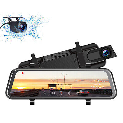 """TOGUARD 10"""" Rearview Mirror Dual Dash Cam Front and Rear Car Camera Night Vision"""