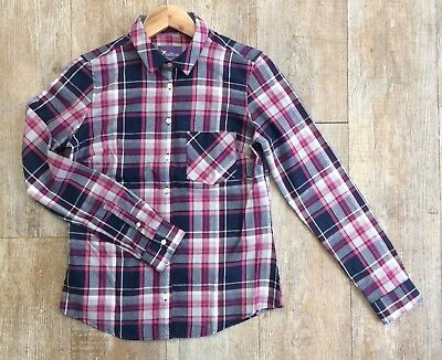 New Size 6 Teens Brushed Check Boyfriend Shirt in Cerise & Navy By Saffron Finch