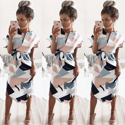 UK Womens Short Sleeve Holiday Midi Dress Ladies Summer Beach Belted Sun Dresses
