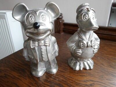 Rare Cavalier Vintage Silver Plated Mickey Mouse And Donald Duck Money Boxes