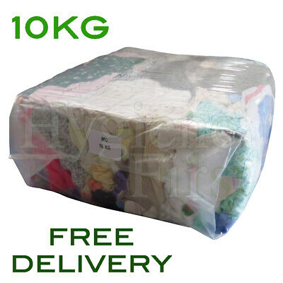 10Kg Mixed Coloured Cotton Rags Wipers Polishing Cloths Engineering Garage