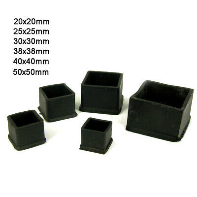 Square Rubber Chair Table Feet Tube Pipe Stick End Cover Caps 20 25 30 40 50mm