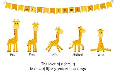 Personalised giraffe family tree picture. Animal family print.