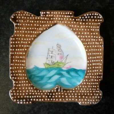 Vintage Japanese China Miniature Ship Painting Raised Dots Frame Wall Plaque