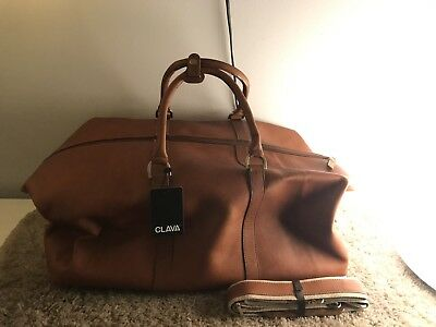 Leather Cabin Duffel Bag Clava. Tan Color. Brand New. Made In Columbia.