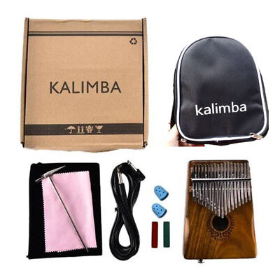 17 Keys EQ Kalimba Solid Acacia Thumb Piano Link Speaker Electric Pickup+Bag