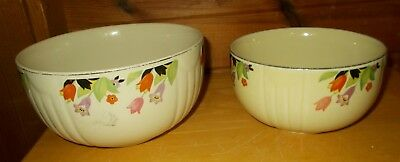 Vintage 1940's Hall China Crocus Pattern pair of Stacking Bowls
