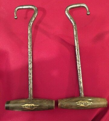 Antique Pair of horn and silver boot jack/boot pulls