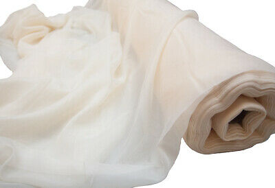 Ivory Voile Fabric Fire Retardant 2.8M Width Sold Per Roll 26M To 66M Swagging