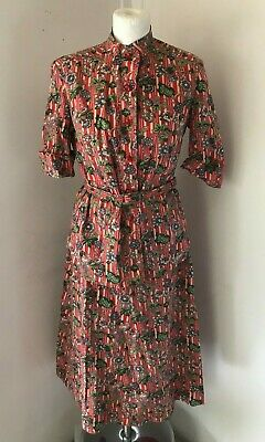 VINTAGE SUSAN SMALL Red/Beige/Green Floral Print Blouse & Skirt Set Size 14