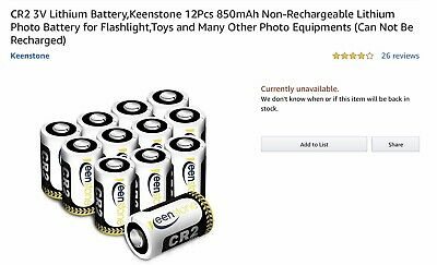 12 Pcs Keenstone CR2 Lithium Batteries
