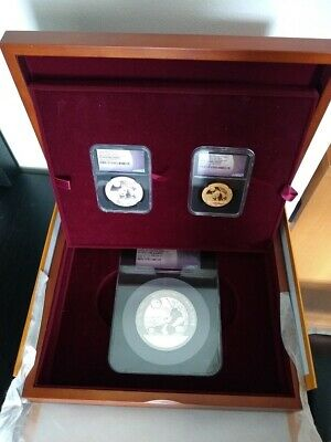 2017Z China Panda Moon Festival Medals Gold/Silver 3 Coins Set All W/NGC PF70