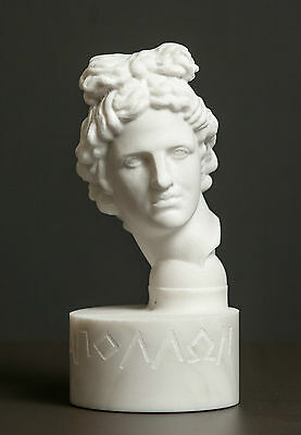 Bust of Olympian God Apollo carved Greek marble statue figurine artist sculpture