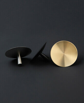 CONCAVE DISC KNOB  - Round Cupboard Drawer Knob - Solid Brass - Small / Large