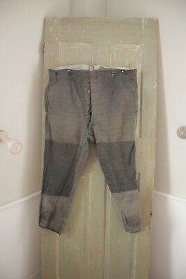 Vintage Pants Antique French Workwear trousers 44 inch waist patched Gray tones