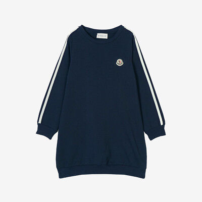 Moncler for Kids 'Abito' Long Dress Top with Stripes - Navy