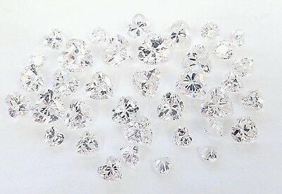 * Lot Of 100 Carats Of Assorted Sized Heart Clear Cubic Zirconia Loose Gemstones