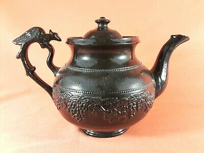 Antique Early 19th Century Black Basalt English Teapot