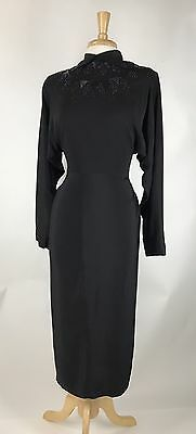 Vampy! Vtg 40s Beaded Rayon Cocktail Party Evening Dress M
