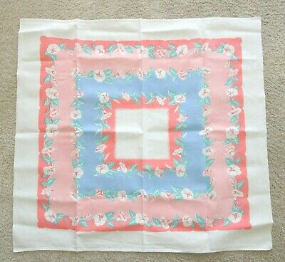 Vtg Tablecloth 33.5 x 46 Blue Pink Coral Morning Glory Floral