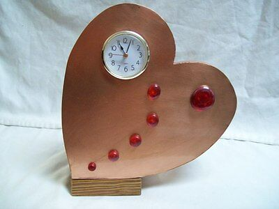 Hand Made One of a Kind  Heart Shape Mantle Clock Solid Copper Plate