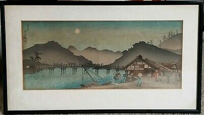 Original Japanese woodblock print by Shotei - Village under full moon- pre quake