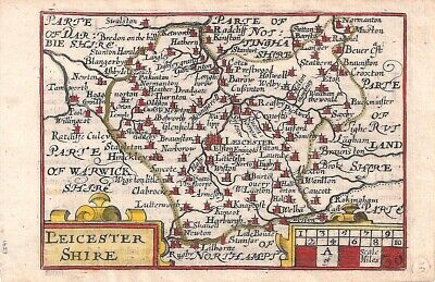 Rare Antique 1627 Map of LEICESTERSHIRE by Van Der KEERE - Minature Speed Map