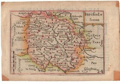 Rare Antique 1627 HEREFORDSHIRE Map by Van Der KEERE - Minature Speed Map