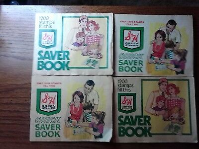 Vintage S&H Quick Saver Books (Green Stamps) (4) Book Lot +Extra Gold Bond Book