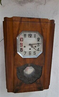 French Antique Vintage Cabinet Wall Clock, Chimes