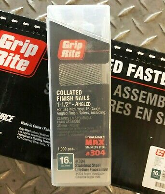 """Finish nail GripRite stainless MAXB64885 16ga 1-1/2"""" angled collated"""