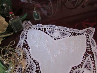 Beautiful Vintage Antique Hand Lace Center Piece Table Topper Hand Embroidery