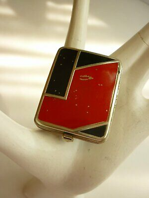 Vtg 1920s ART DECO Compact / Vanity w Rouge & Powder Red Black Chrome Flapper!