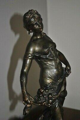 L & F Moreau Bronze Spelter Sculpture signed 41cm Female Carrying Fruit C19th