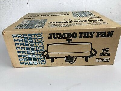 "Vintage Jumbo Electric Fry Pan by Presto 15"" Large New In Box RARE Hot Plate 70s"
